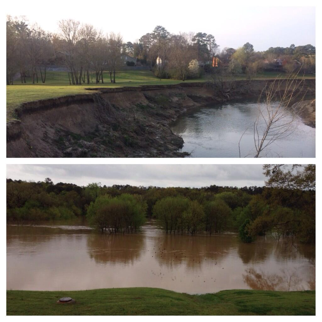 Top photo is a normal day and bottom is today--the field at the end of our street off Old Rocky Ridge on the Cahaba River.