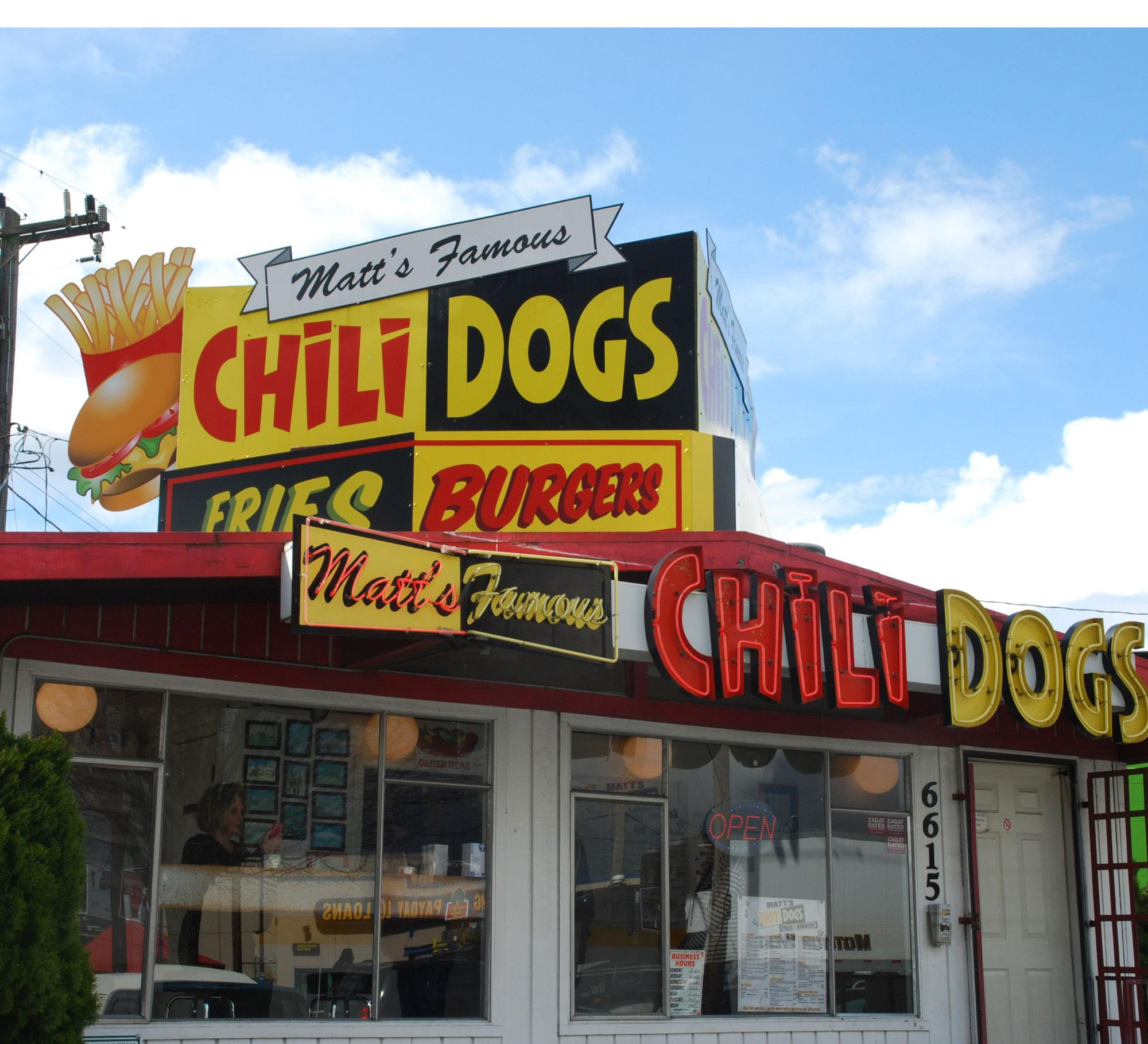 This place just gets us. In the mix here, you'll find the namesake concoction that started it all - Matt's Famous Chili Dog, a gourmet hot dog with all the fixings plus a generous ladle of chili. (Image: Matt's Famous Chili Dogs Facebook Page)
