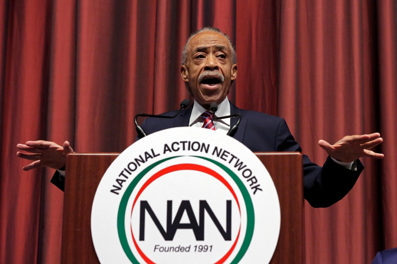 The Rev. Al Sharpton delivers opening remarks during the 25th annual National Action Network convention, in New York, Wednesday, April 13, 2016. (AP Photo/Richard Drew)