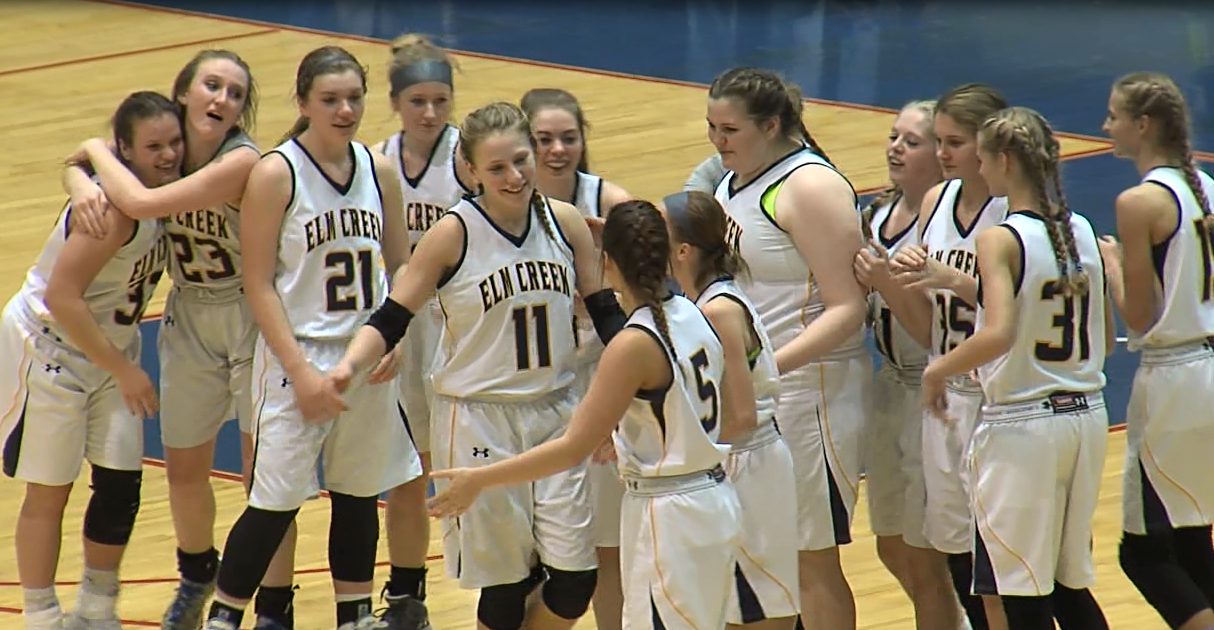 Elm Creek girls celebrate defeating Pleasanton in an FKC semifinal Feb. 2, 2017 at the Viaero Center (NTV News)