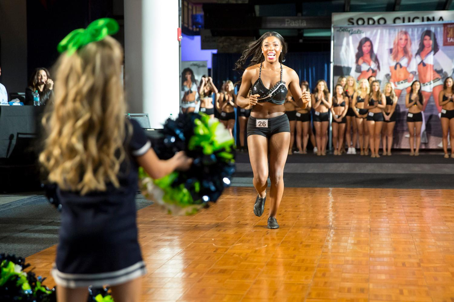 Welcome Errin, a 2018 Sea Gal! Dancers performed a choreographed routine and spoke briefly about themselves. The entire evening was live broadcasted on the Seahawks website. (Sy Bean / Seattle Refined)