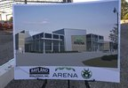A rendering of the finished Oshkosh arena is displayed at the construction site June 27, 2017.