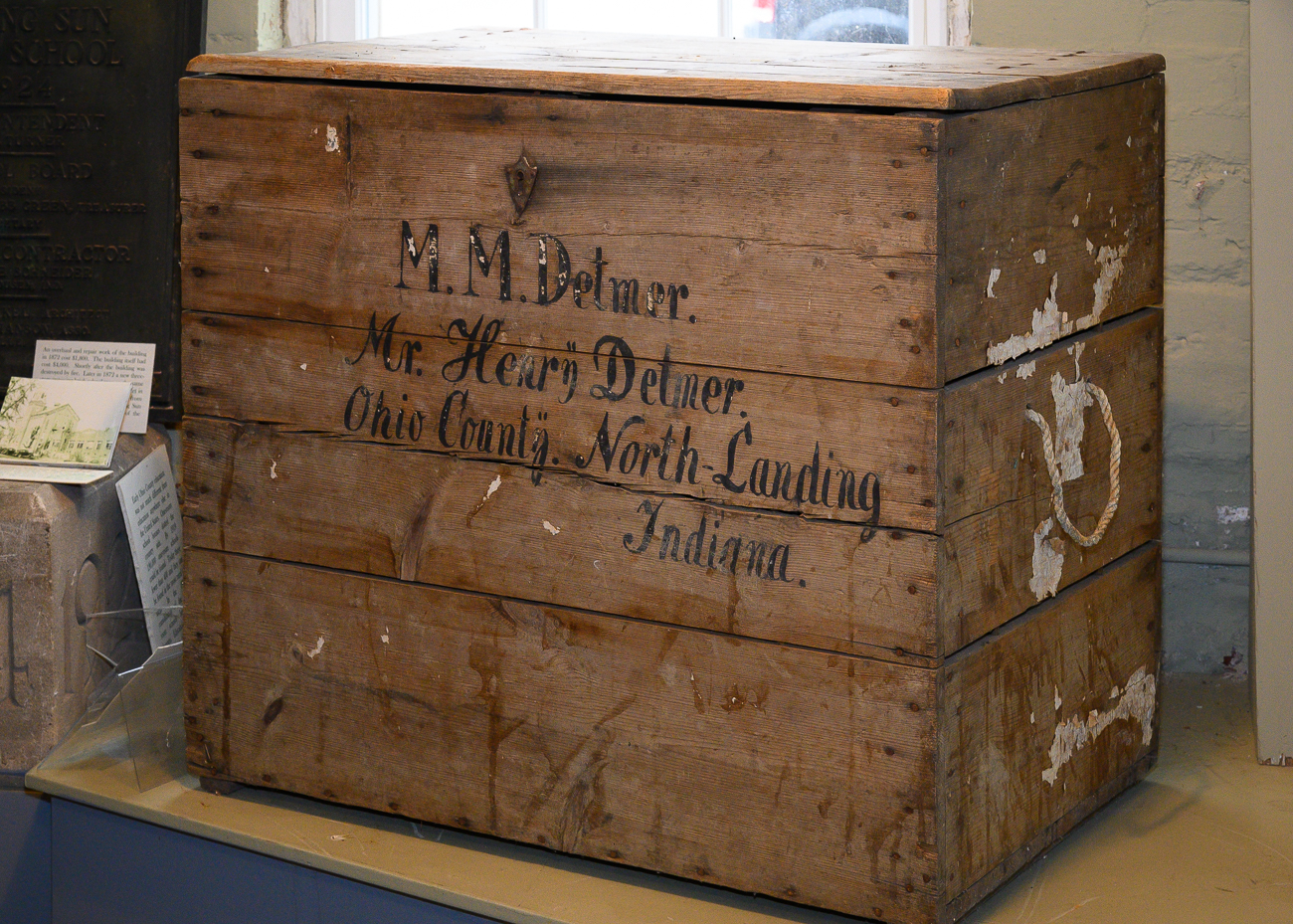 A chest from around 1845 used by the Detmer family. The Detmers were German immigrants who settled in Rising Sun. / Image: Phil Armstrong, Cincinnati Refined // Published: 1.7.20
