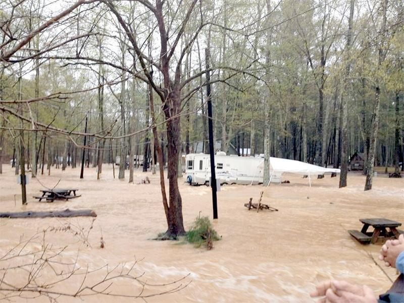 Flash flooding covers a portion of Tannehill State Park, Monday, April 7, 2014.