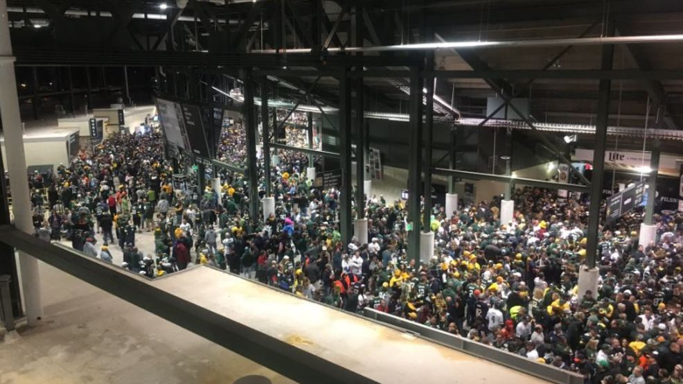 during a weather delay fans were told to take shelter inside the concourse of lambeau field september 28 2017 photo courtesy of andrew lacombe