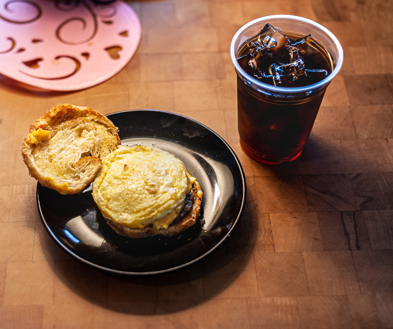 Breakfast sandwich and iced coffee / Image: Kellie Coleman // Published: 1.31.21