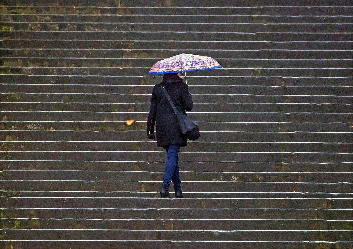 A woman walks with her umbrella along the 70 Cathedral steps in Erfurt, central Germany, Tuesday, Nov. 15, 2016.  Weather forecasts predict changeable weather for Germany.  (AP Photo/Jens Meyer)