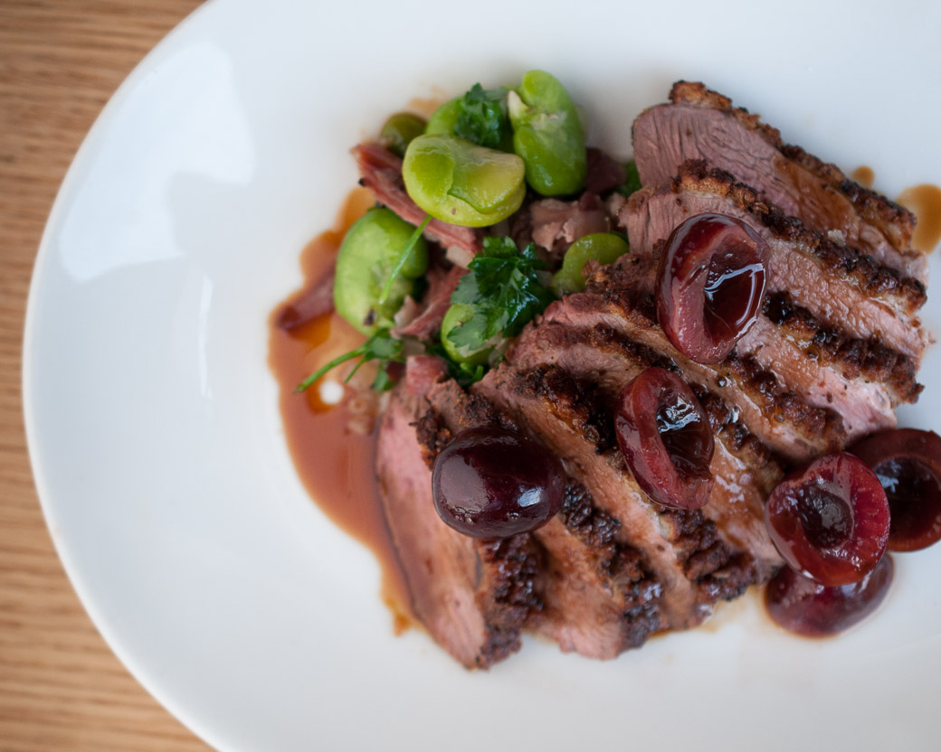 Mkt.'s pan-roasted duck breast, chelan cherries, and fava beans. (Image: Geoffrey Smith)