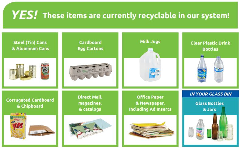 The items accepted in curbside recycling bins has changed, effective Monday, the City of Eugene said. (City of Eugene)