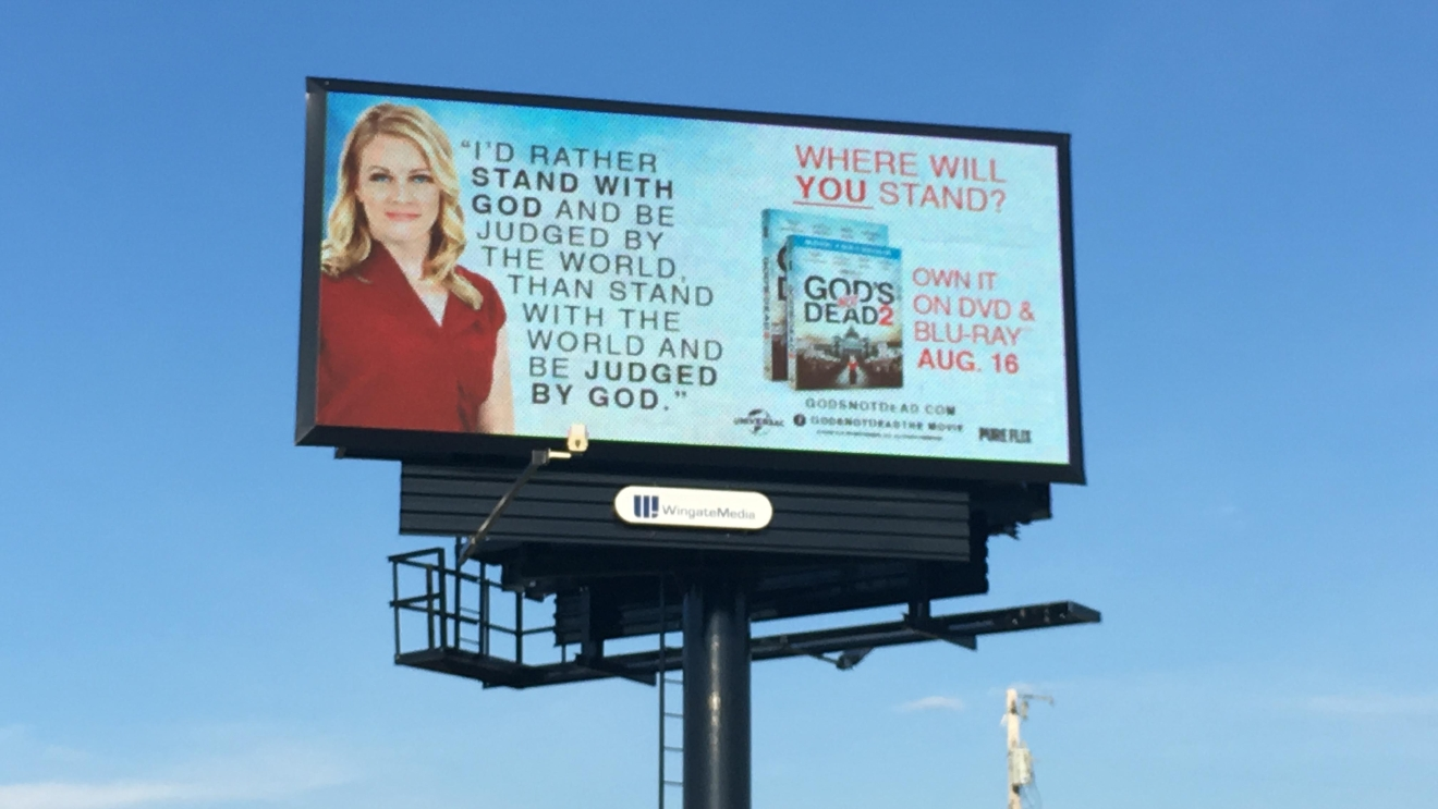 "A billboard allegedly deemed ""way too incendiary"" for use in downtown Cleveland during the Republican National Convention has found a home in Middle Tennessee. PHOTO: Wingate Media Group"
