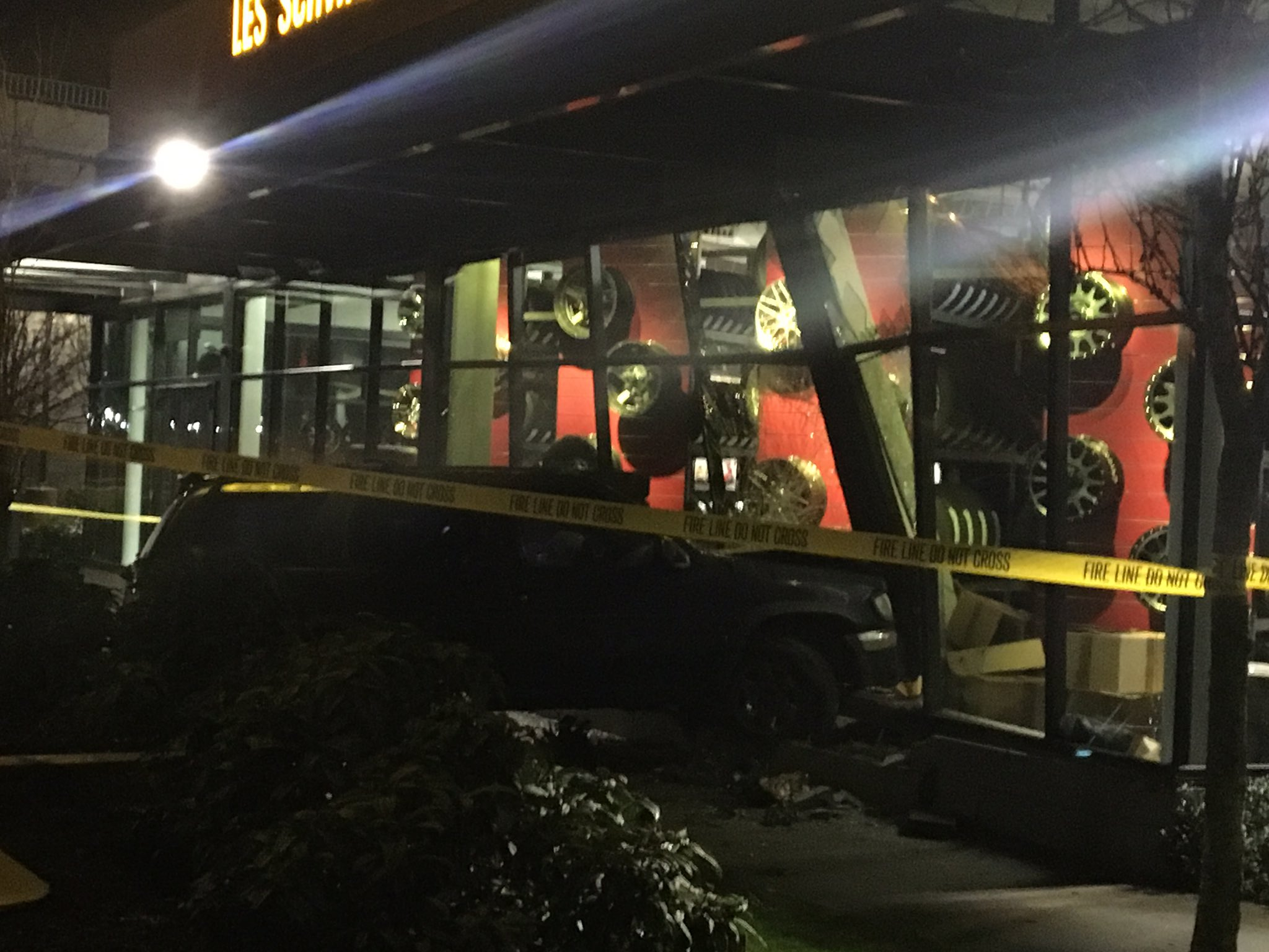 A driver in an SUV crashed into the front of a Les Schwab Tire Center in Sellwood on Jan. 16, 2019. KATU photo