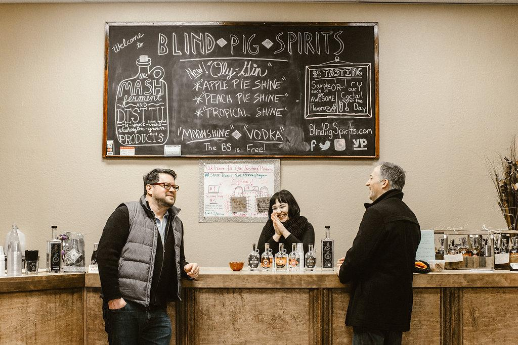 Blind Pig Spirits craft distillery at 222 Market offers in-house distilled alcohols from Washington grown products.(PHOTO: OLYSOCIAL and Poppi Photography).