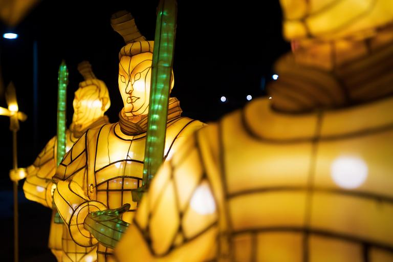 Terra cotta warriors stand at attention on the opening night of the China Lights lantern festival Friday, January 19, 2018, at Craig Ranch Regional Park in North Las Vegas. The festival, which features nearly 50 silk and LED light displays comprised of over 1000 elements, runs through February 25th. CREDIT: Sam Morris/Las Vegas News Bureau