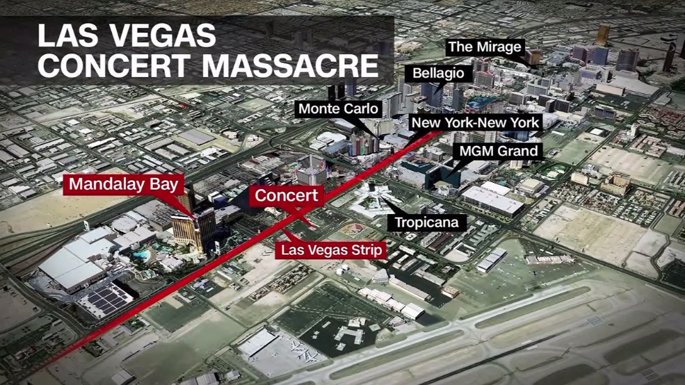 A map of the Las Vegas Strip shows where the shooting occurred. (KSNV)