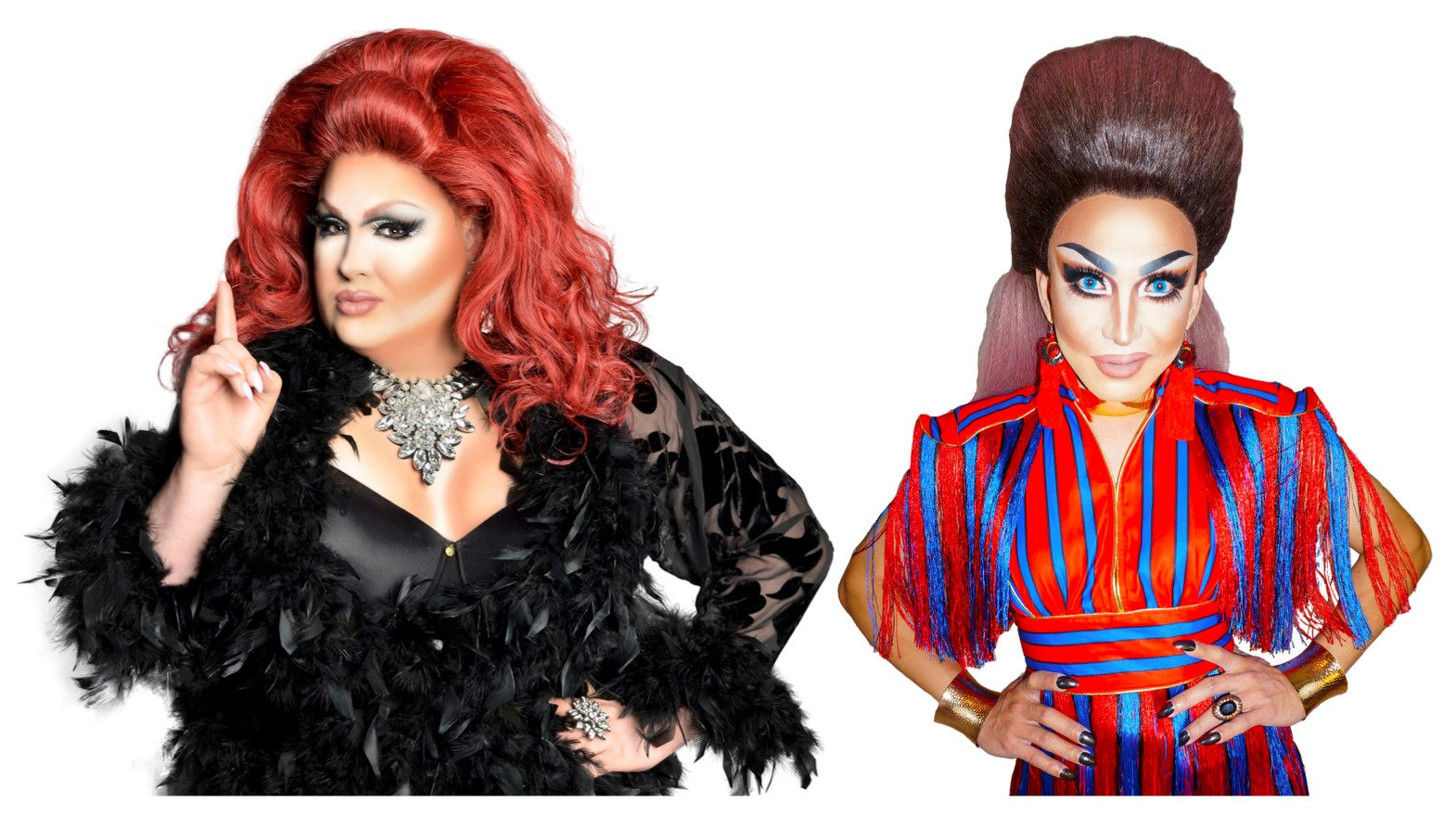 Drag queens Bombalicious Eklaver and Ba'Naka will serve as the hostesses for Taylor Gourmet's free Drag Bingo Pride bash on Thursday. (Image: Courtesy Bombalicious and Ba'Naka)