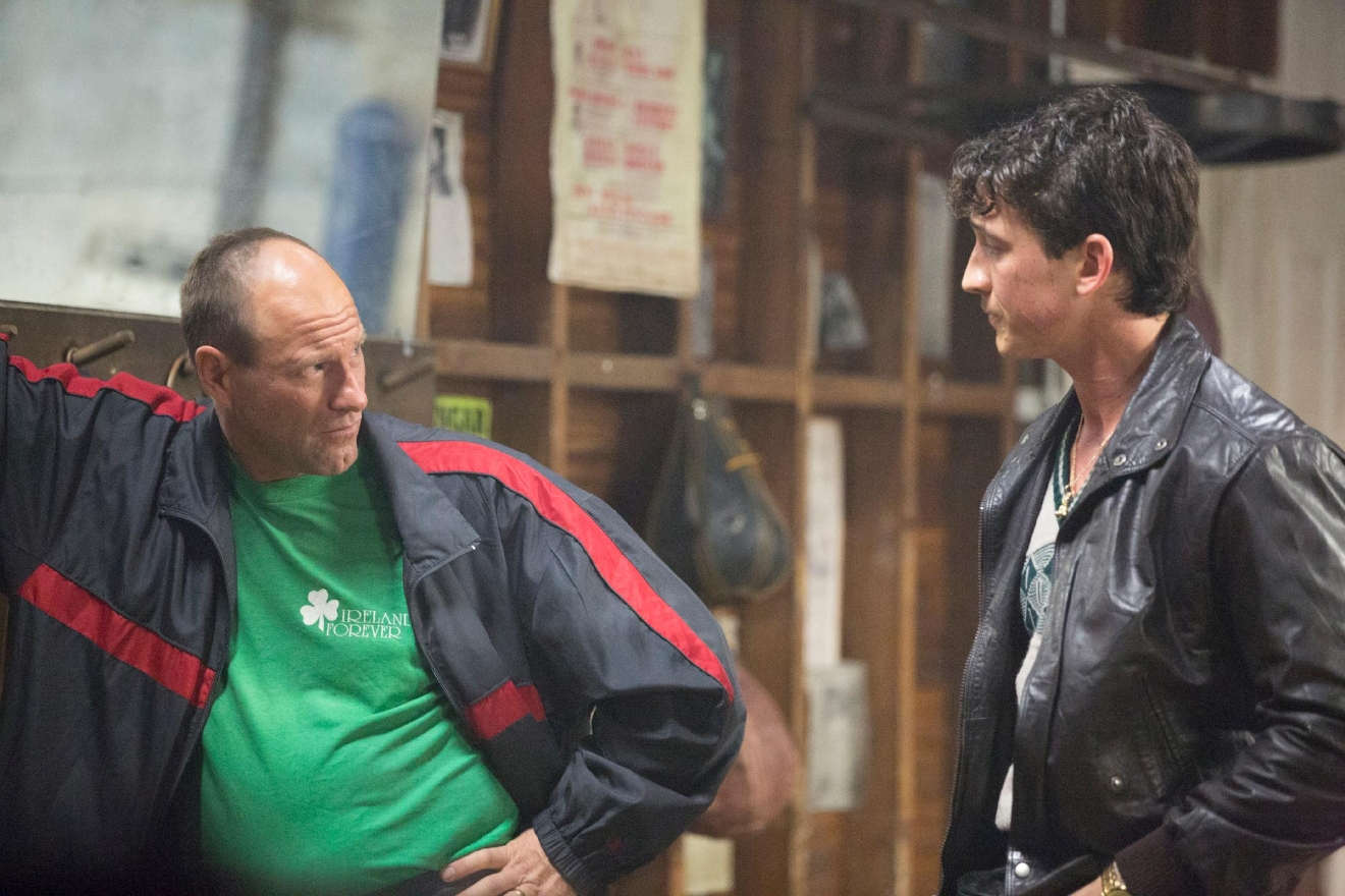 (Left to right) Aaron Eckhart and Miles Teller in BLEED FOR THIS. (Courtesy of Open Road Films)