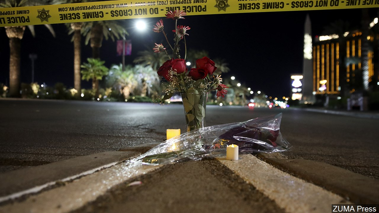 Flowers and candles are placed near the site of a mass shooting in Las Vegas, Photo Date: 10/3/2017 Zuma Press/MGN Online<p></p>
