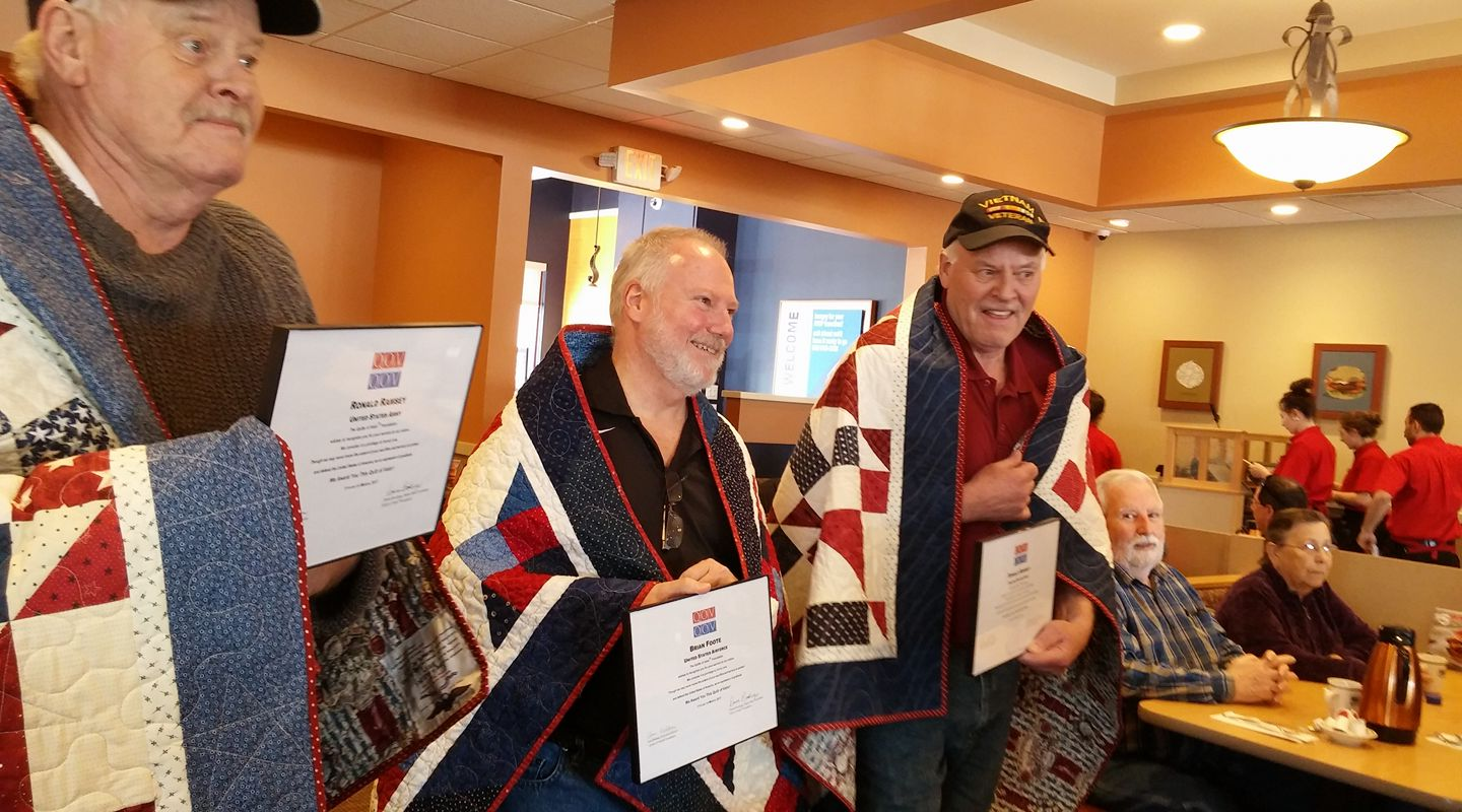 "The nonprofit ""Quilts of Valor"" awards quilts to veterans to thank them for their service, and provide some comfort (Courtesy:  Quilts of Valor)"