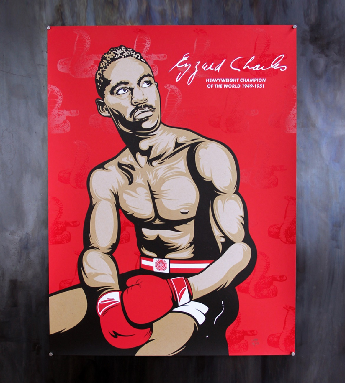 "Ezzard Charles Champion print, 18""x24"" silkscreen 4-color print on 100 lb French paper / Image courtesy of We Have Become Vikings // Published: 7.18.18"