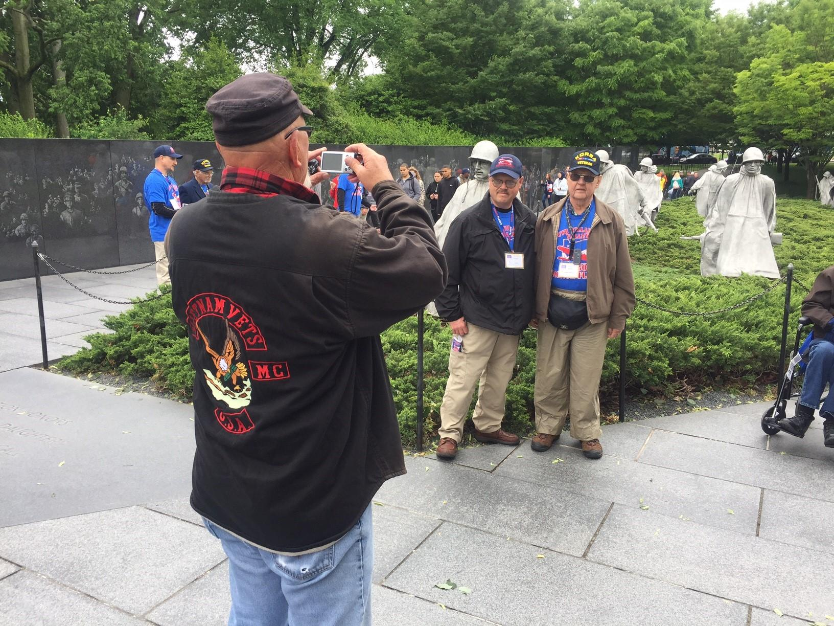 The South Willamette Valley Honor Flight visited the Korean War Veterans Memorial in Washington, D.C. Saturday morning. They will also visit the Arlington National Cemetery for the changing of the guard ceremony at the Tomb of the Unknown. (SBG photo)