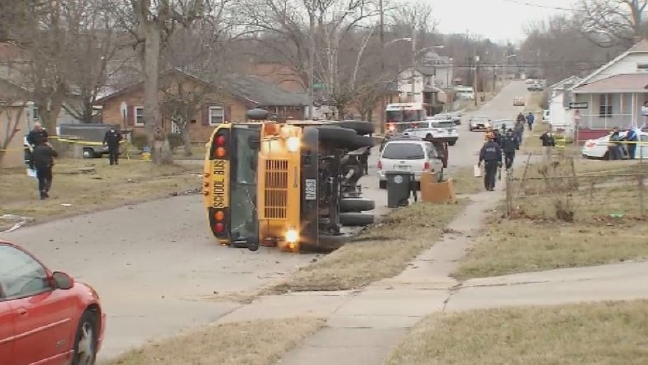 School bus carrying students crashes in Ohio, ends up on its side