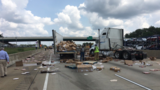 Frozen pizzas scattered on interstate after tractor-trailer crash