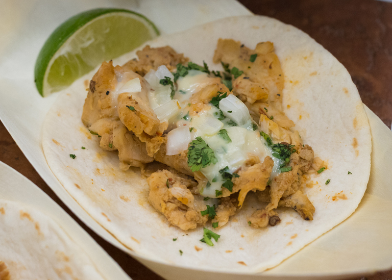 Street Tacos: chicken or pork topped with onion, cilantro and queso with limes on the side / Image: Phil Armstrong, Cincinnati Refined: 4.12.18