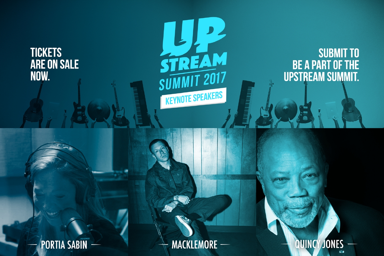 Upstream announced the keynote speakers for their Summit this morning: Quincy Jones, Portia Saben and Macklemore. (Image: Upstream)