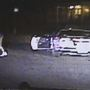 Video shows suspect jumping from car after being stopped with spike strips