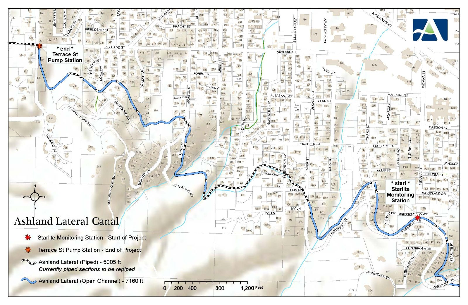 A map of the Ashland Canal showing the length that is proposed for piping and sections that are already piped. Photo taken from the city website.