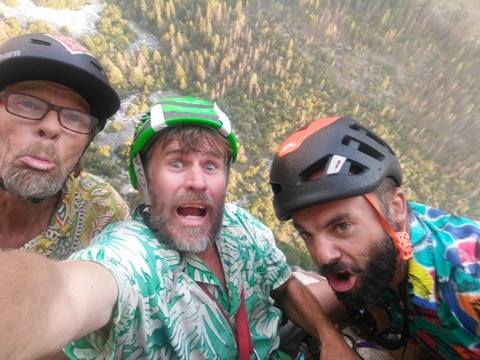 Peter Zabrok (center) was climbing El Capitan with his friends when another rock fall happened Monday.