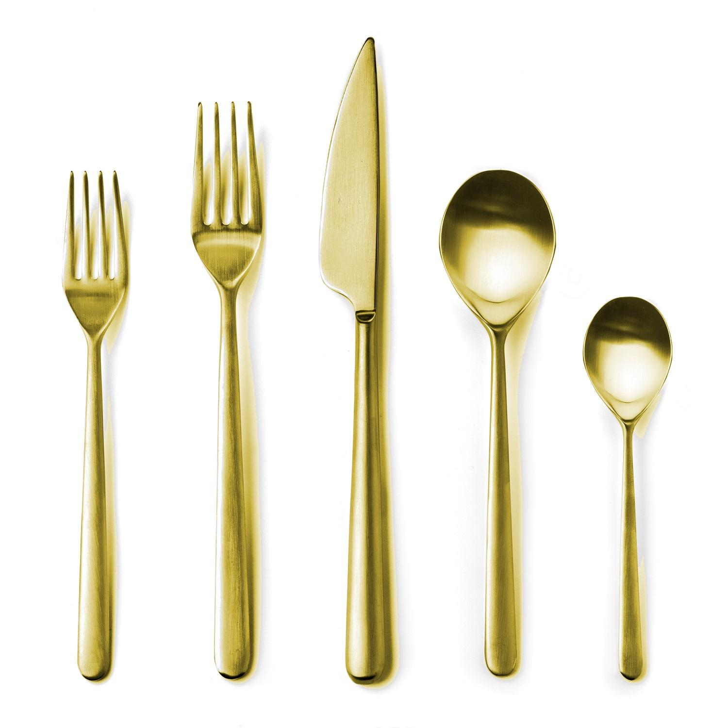 Create an ambiance of elegance for a special occasion with this stylish set of polished gold silverware. http://bit.ly/2zhPWfF