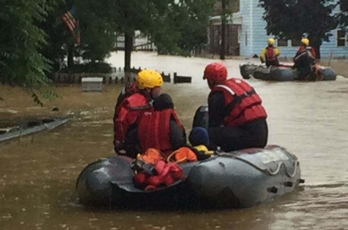 Firefighters from Kanawha County assist in a water rescue in Marion County. (Kanawha County Emergency Management)