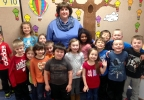 Golden Apple Award recipient Chris Skogg poses with her kindergarten class at Cormier Early Learning Center in Ashwaubenon.