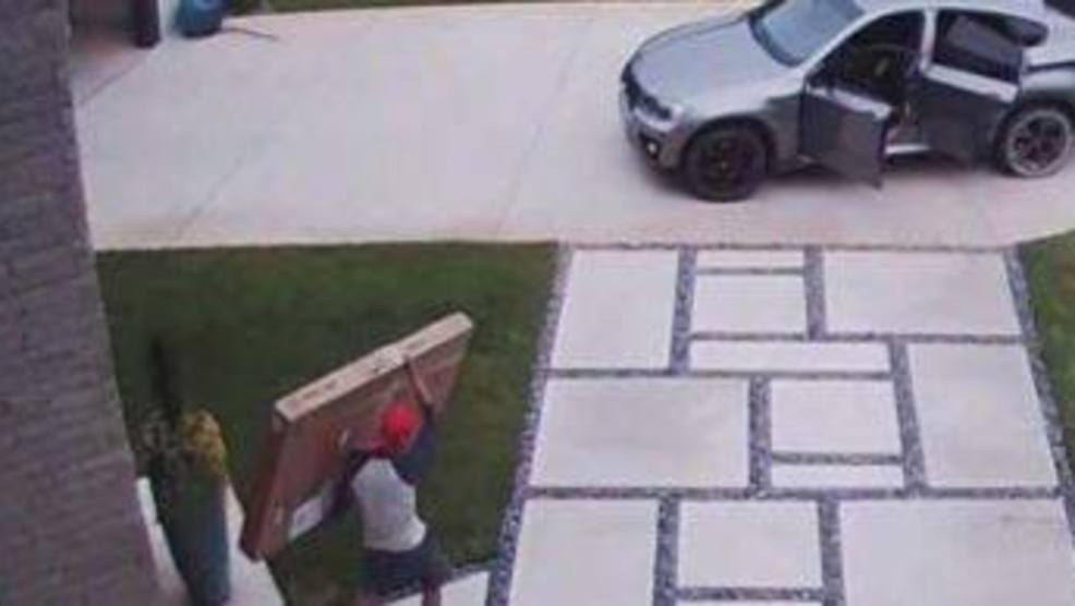 A custom painting and other deliveries were stolen Sept. 12 from the porch of an Edmond home. (Edmond Police Department)