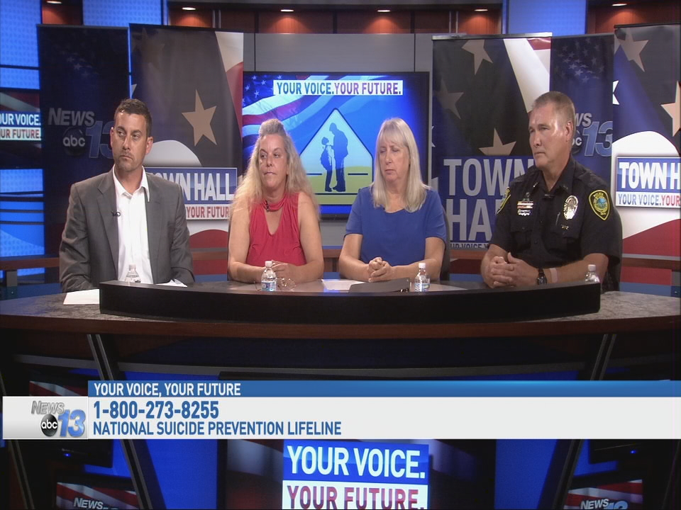 Round Table panelists, left to right Mr. Max Weissman, a youth counselor with Adolescent Counseling Services of WNC; Ms. Kim Cornwell, a mother whose daughter Amber suffered bullying and ultimately committed suicide in 2014; Ms. Jeanne Mcgowan with Asheville City Schools and works with the Safe Schools program; SRO Craig Roberts with the Asheville Police Department, assigned to Asheville High School (Photo credit: WLOS Staff)