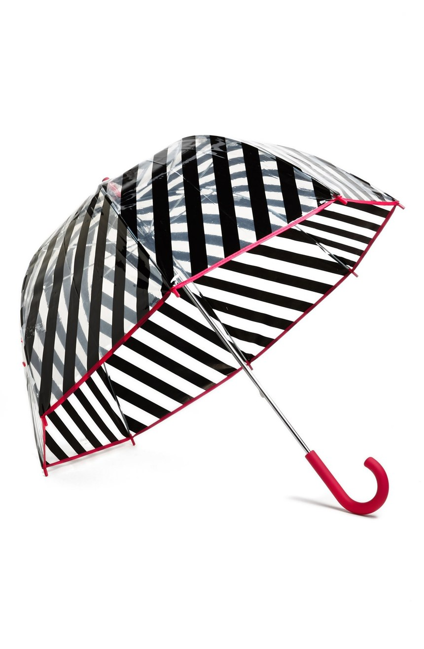 This Kate Spade umbrella it literally too cute not to share!   When temperatures drop, it doesn't mean your outfit has  to be all doom and gloom like the weather.  You can still look effortless in the rain! From high-fashion puffers to cozy parkas and knee high (high fashion) waterproof boots, these are the styles to invest in NOW.  (Image: Nordstrom)