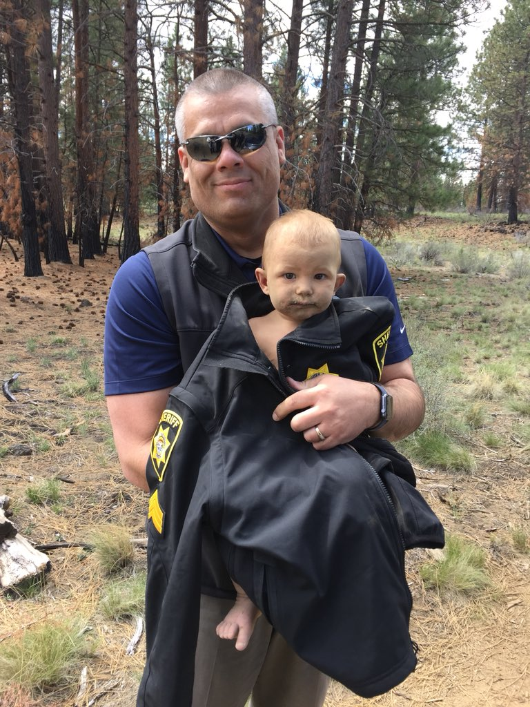 The Deschutes County Sheriff's Office located 1-year-old{ }Bradley Thomas after he was lost in the woods near bed for hours on May 11, 2018. Photo courtesy Deschutes County Sheriff's Office{ }