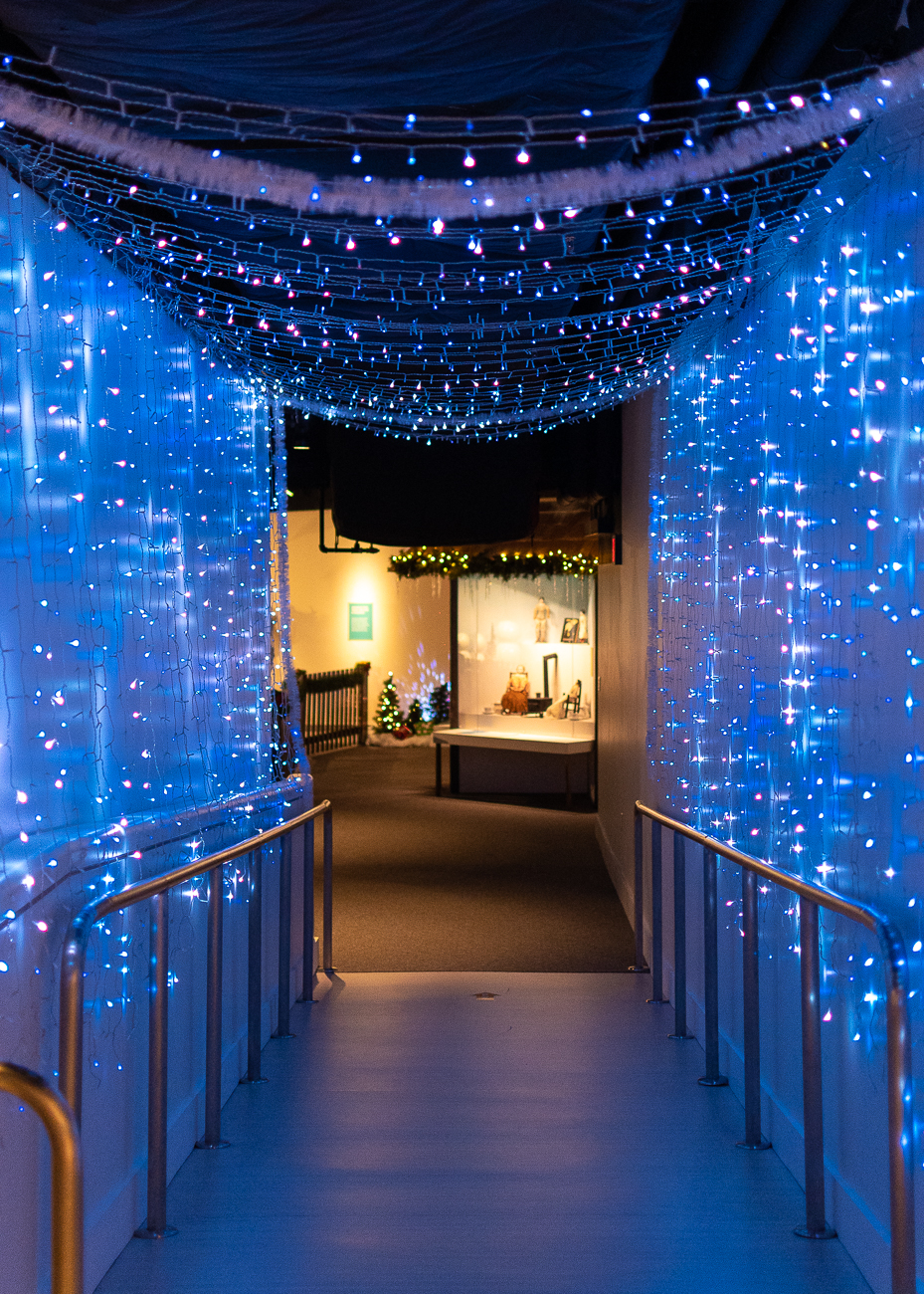 The Northern Lights display greets guests when they enter Holiday Junction. All of the interactive features this year are hands-free and rely on gesture controls to avoid spreading germs. / Image: Phil Armstrong, Cincinnati Refined // Published: 11.15.20