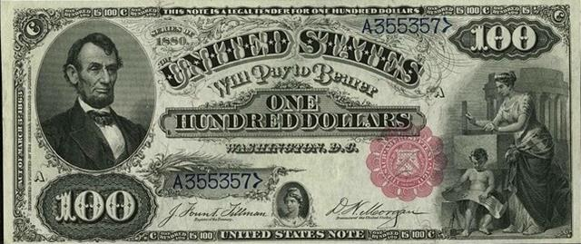After the Civil War, different political parties favored gold, others favored silver. This note is a $100 silver certificate from 1880.
