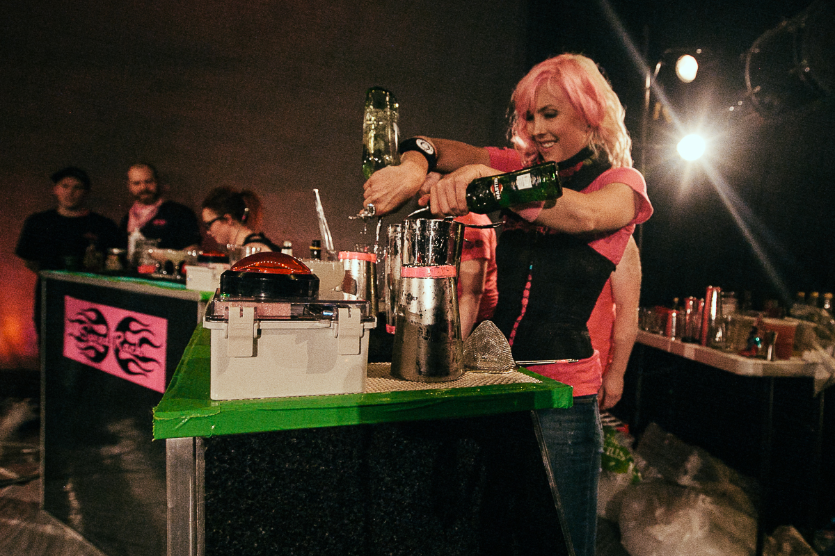 Speed Rack Seattle pits female bartenders from around the Northwest against each other to find out who is the fastest. The bartenders craft classic cocktails and the victor is determined by speed including time penalties for mistakes. 100% of the proceeds in each city go to breast cancer education, prevention and research. (Joshua Lewis / Seattle Refined)