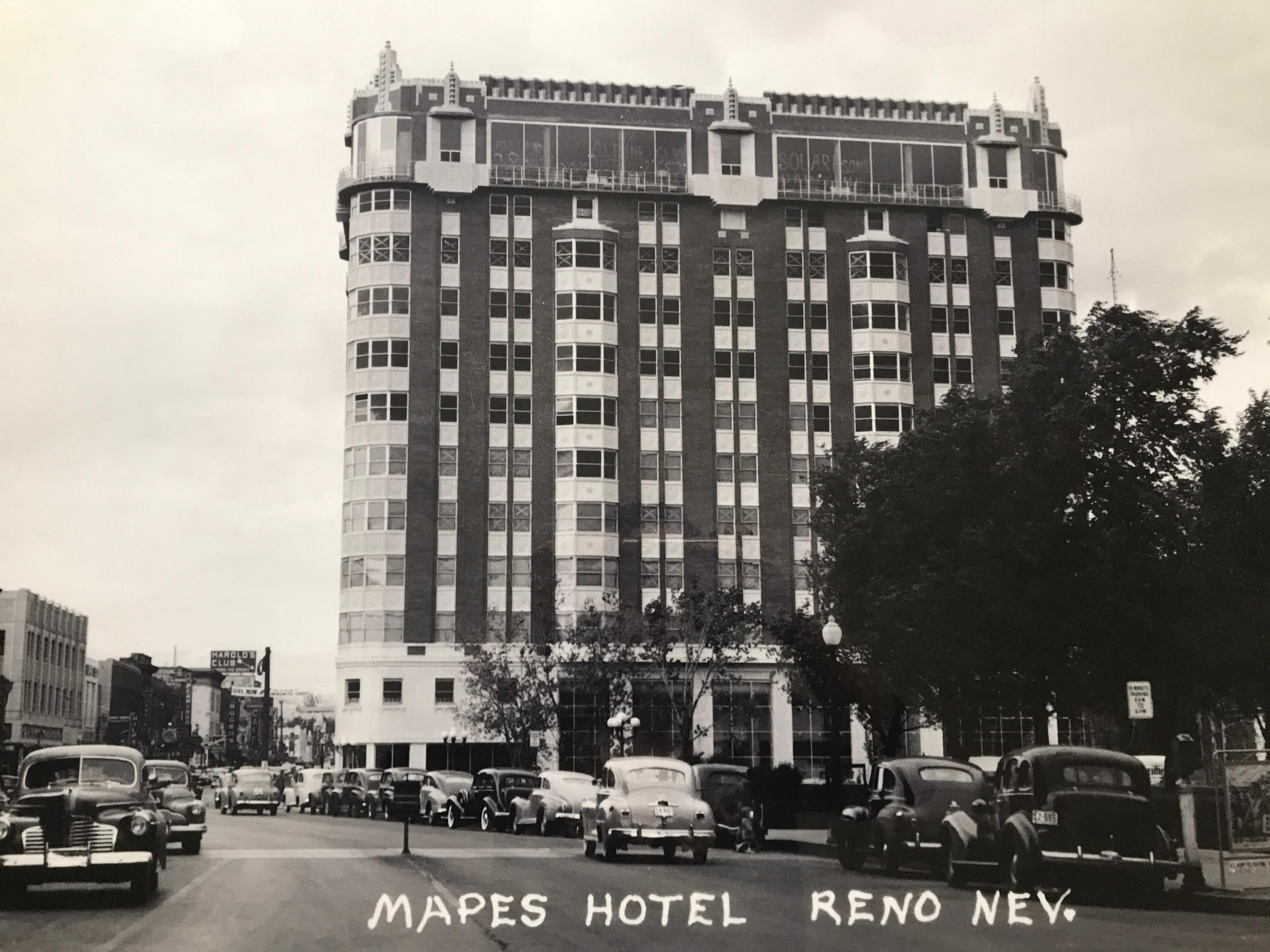 The 12-story Mapes Hotel became the tallest building in Nevada when it burst onto the Reno scene in 1947. Its prime location on the northeast corner of the Truckee River and Virginia Street had become available in 1934, when the old post office was replaced by the Art Deco-style building directly across the river. (Photo courtesy: Reno Historical)