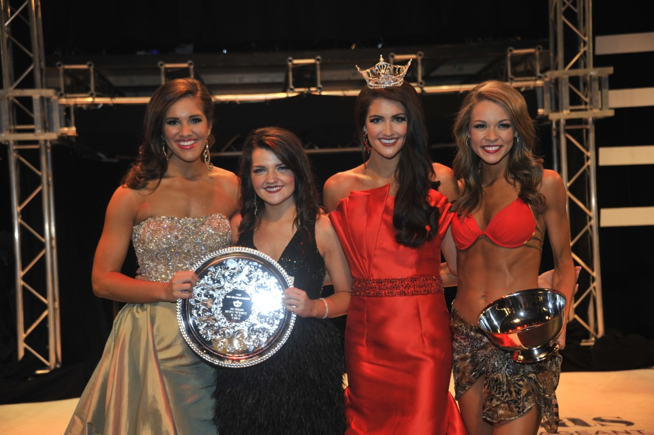 "Miss Jonesboro Maggie Benton and Miss Johnson County Emma Pitts (L) share the preliminary award for 'Artistic Expression"" Miss White River Claudia Raffo (R) received an award for preliminary 'Lifestyle and Fitness in Swimsuit'. (Photo: Danny Barger Photography)"