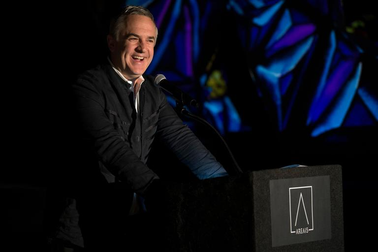 Designer Michael Beneville speaks during an event announcing the establishment of Area 15, a curated retail, dining and immersive entertainment venue, Thursday, January 18, 2018. CREDIT: Sam Morris/Las Vegas News Bureau