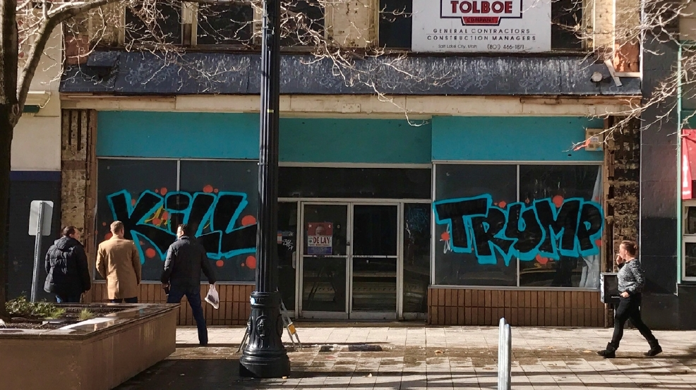 Anti Trump Graffiti Appears In Downtown Slc Hours Before