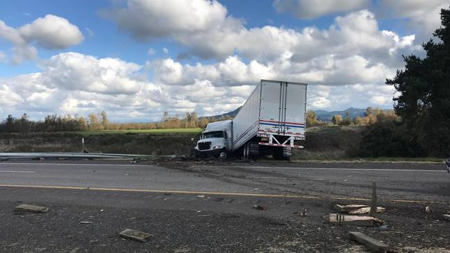 Jack-knifed semi disrupts I-5 northbound near Brownsville