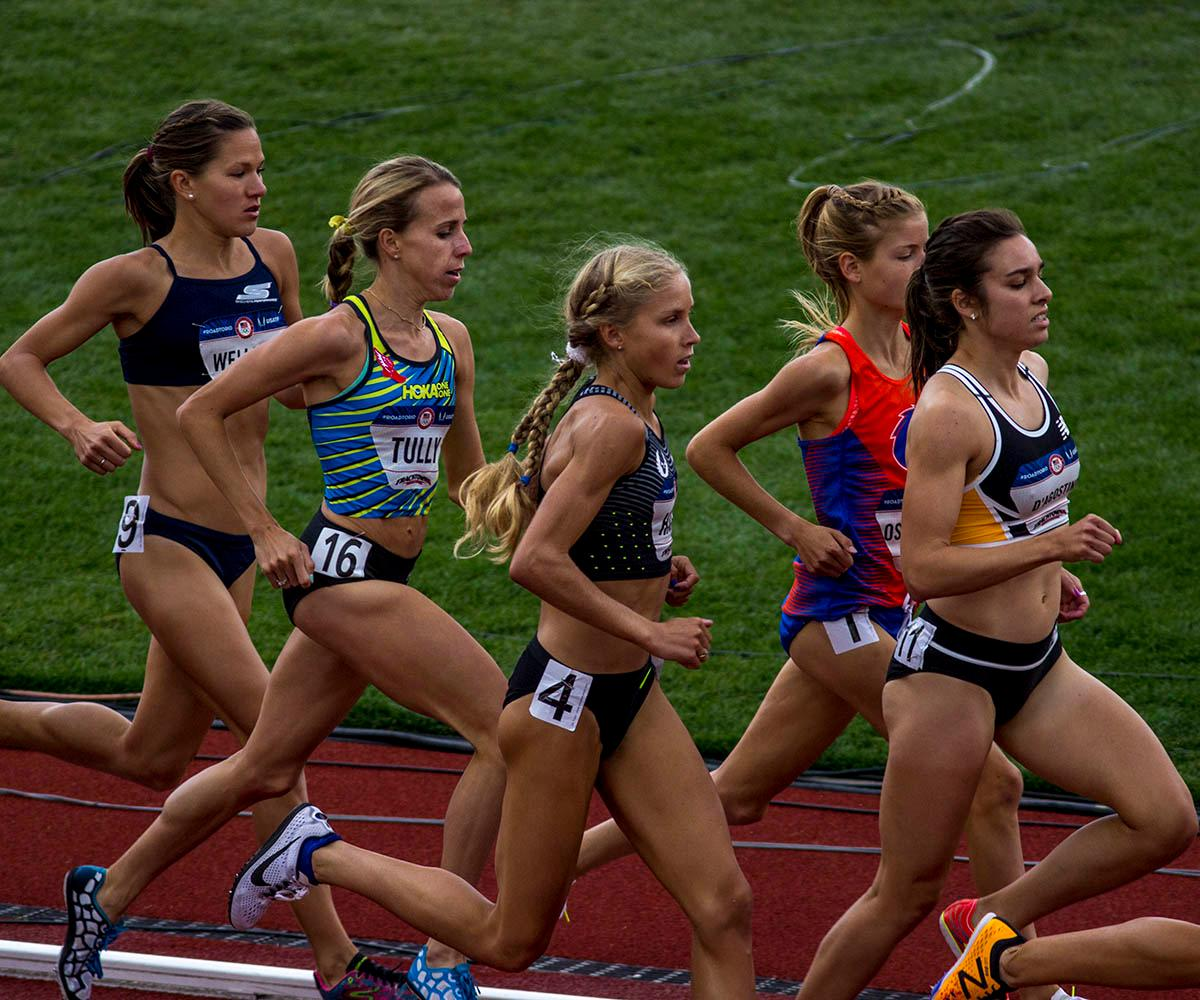 From left to right, Tara Welling, Nicole Tully, Jordan Hasay, Allie Ostrander, and Abbey D�Agostino race in the Women�s 5000m Run. Welling finished ninth with a time of 15:26.82. Tully did not finished after falling during the race. Hasay finished 13th with a time of 15:51.68. Ostrander finished 8th with a time of 15:25.74 and D�Agostino finished fifth with a time of 15:14.04. Day 10 of the U.S. Track and Field Trials concluded Sunday at Hayward Field in Eugene, Ore. The competition lasted July 1 through July 10. Photo by Amanda Butt