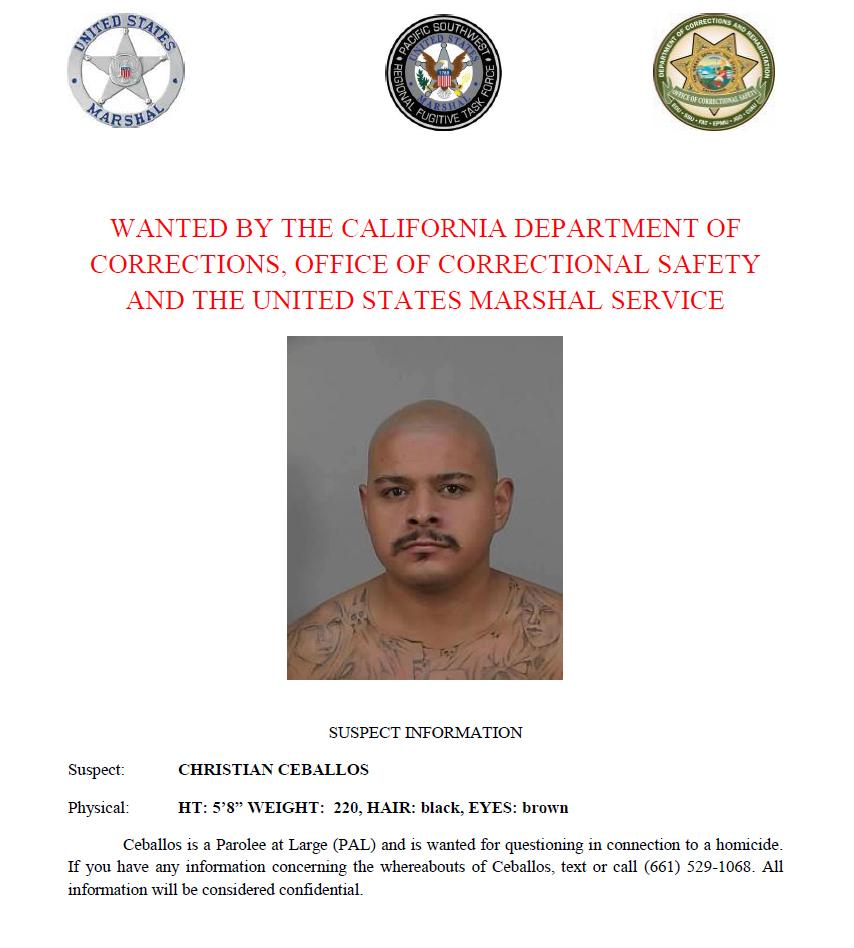 Christian Ceballos is wanted by the California Department of Corrections and Rehabilitation, Office of Correctional Safety and the U.S. Marshals Service. Call or text with confidential tips to (661) 529-1068.