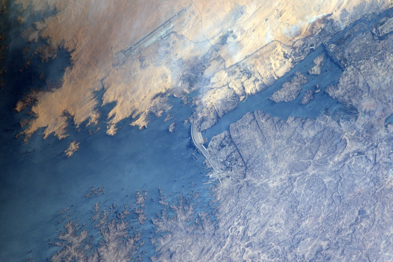 The Aswan dam: a site that is practically? pharaonic ;)  (Photo & Caption: Thomas Pesquet // NASA)