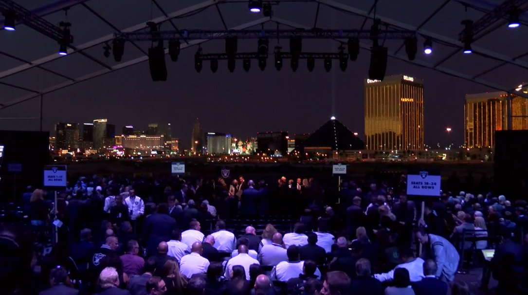 View of the Las Vegas Strip from the site of the Raiders groundbreaking ceremony. (KSNV)